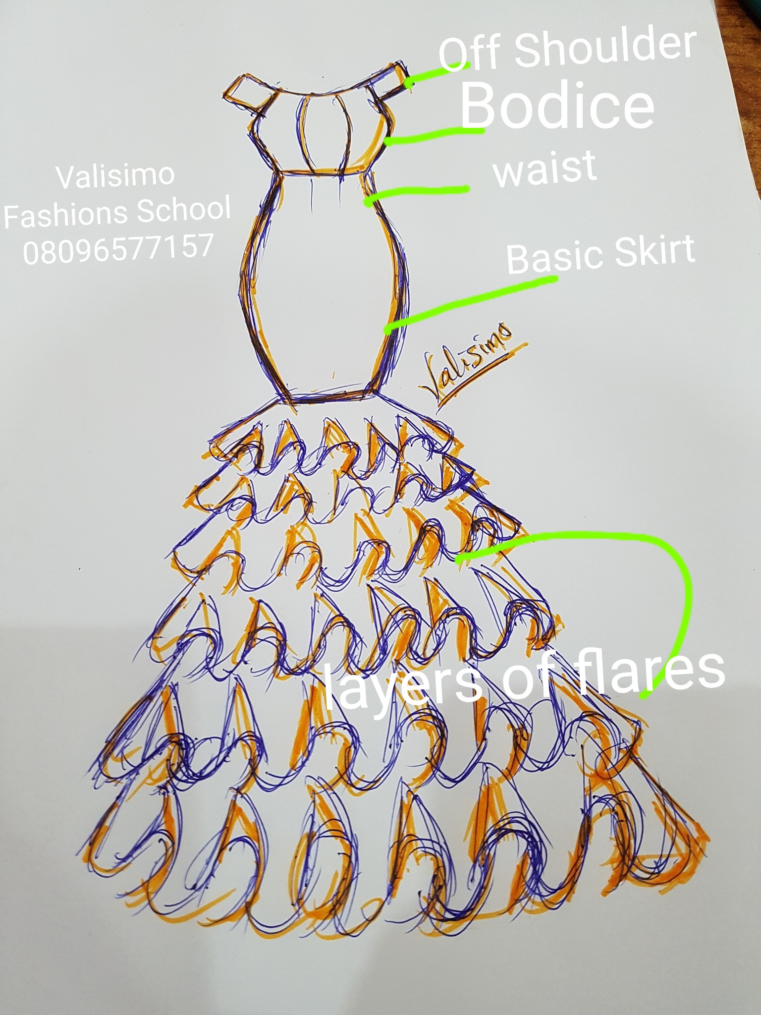 ORANGE LAYERED DRESS ILLUSTRATED