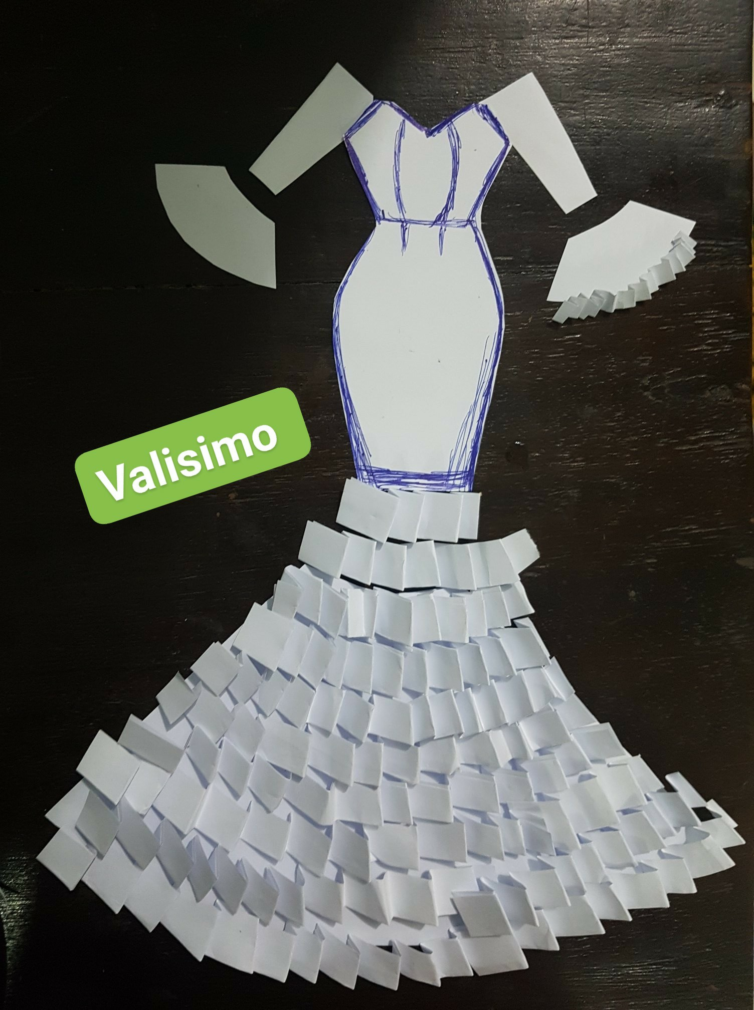 Pleated detailed dress illustrations (credited to facebook picture)