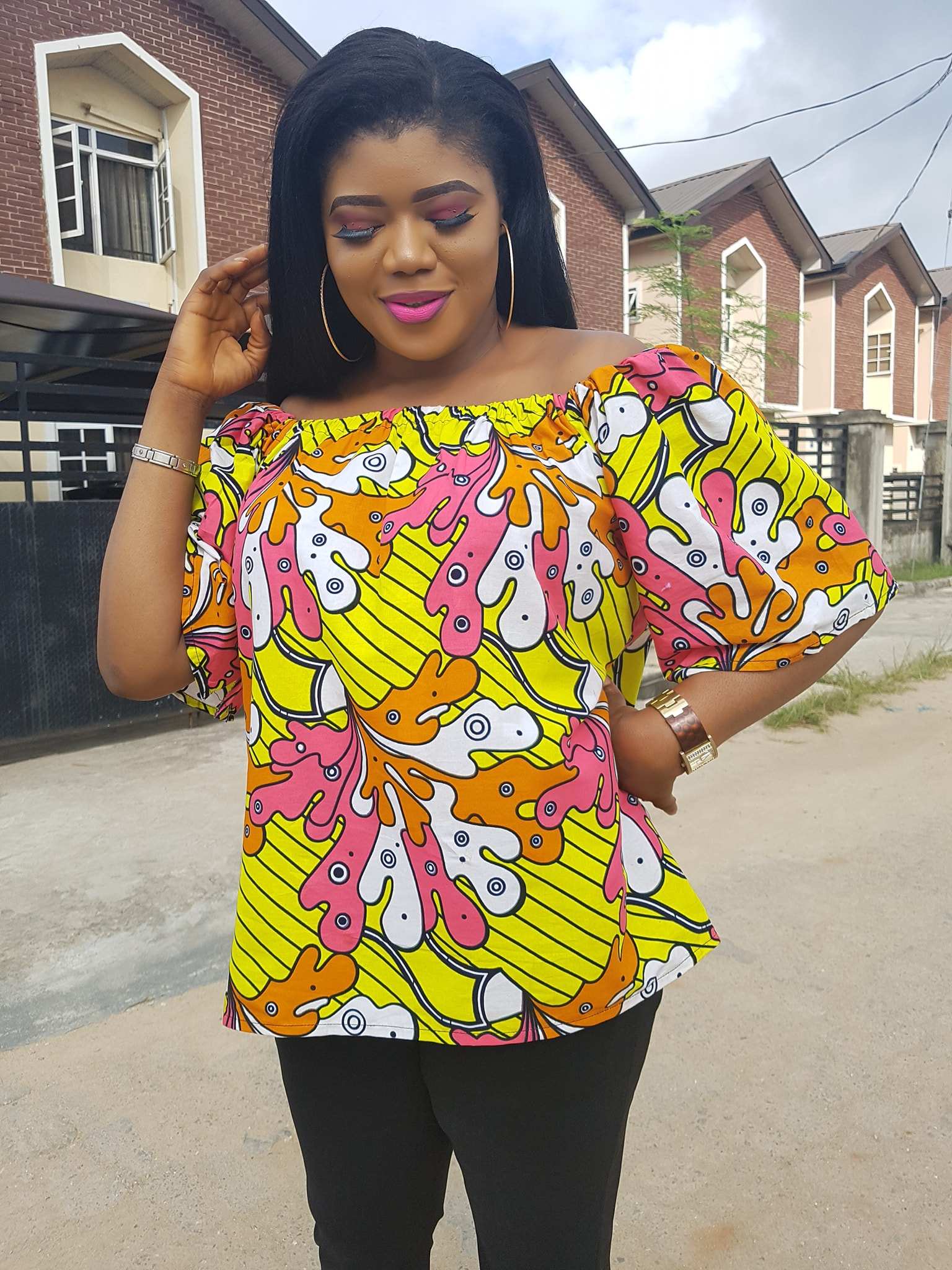 Off shoulder gathers blouse DIY