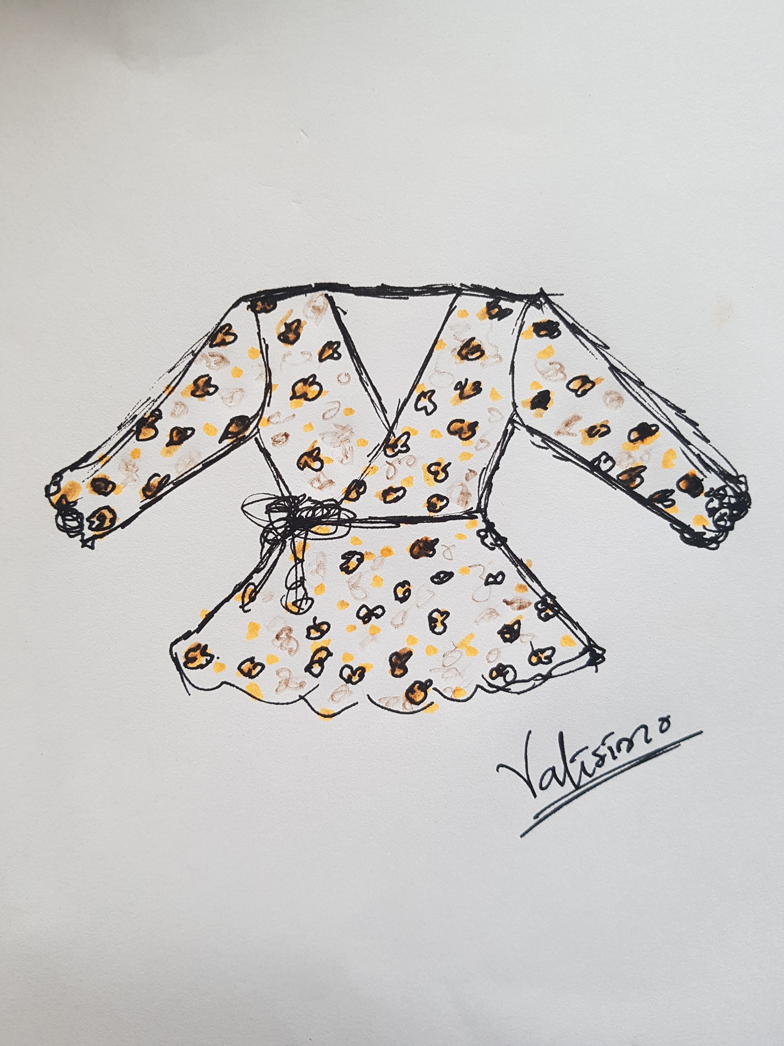 Illustrations for my Overlap blouse