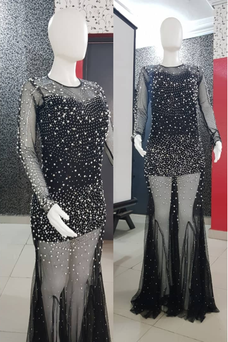 Silver and Black dress with Silver sequins