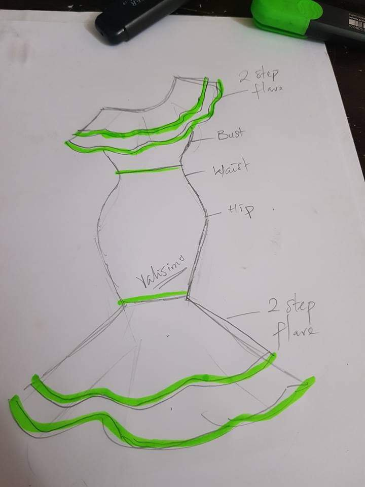 Two-step flare dress illustrated