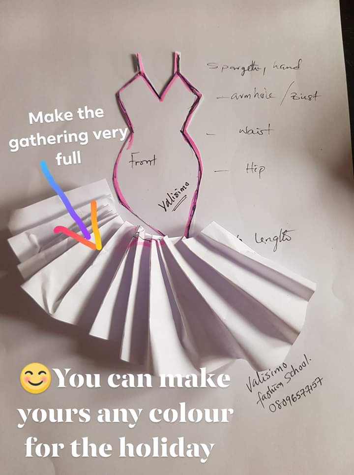 Slanted spaghetti strap dress with gathers tutorial (Credit: Facebook picture)